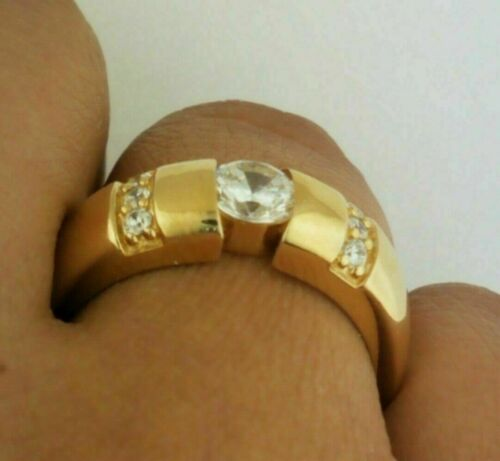 1.30Ct 14k Yellow Gold Over Men/'s Round Diamond Engagement Wedding Ring Band