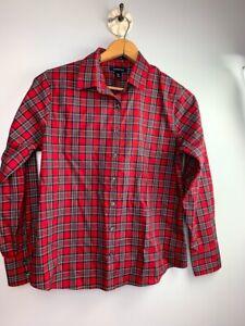 Lands-039-End-Womens-Blouse-10-Petite-No-Iron-Supima-Cotton-Red-Plaid-Pattern-NWOT