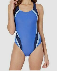 167-Speedo-Women-039-s-Blue-Quantum-Racerback-One-Piece-Swimsuit-Swimwear-Size-10