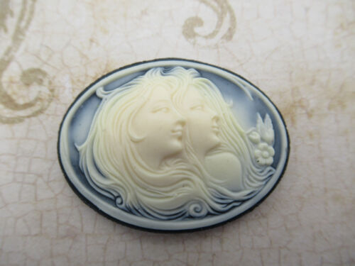 Women Double Head Cameos 40X30mm Oval Cabochons Ivory Black Female Profile 4 pcs