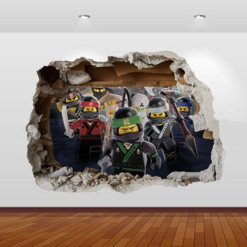Lego Ninjago Sensei Lloyd Jay Kai 3D Smashed Wall Sticker Poster Decal Mural 817