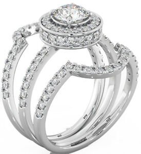 New 925 Sterling Silver Ladies Wedding Engagement Round Cut Halo Bridal Ring