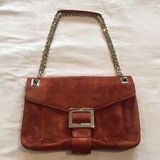 ROGER VIVIER Metro Suede Shoulder Bag Cross body Purse Copper Orange Adobe $2500