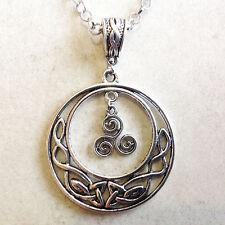 pendentif Lune entrelacs celtiques et Triskel symbole de la Bretagne Celte
