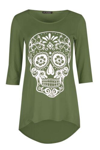 Womens Ladies Halloween Skull High Low Dipped Hem 3//4 Sleeves T-Shirt Top