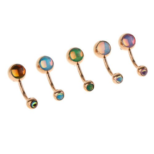 5Pcs Stainless Steel Navel Rings Crystal Belly Button Bar Piercing Jewelry