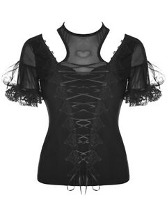 Punk-Rave-Womens-Gothic-Top-Black-Lace-Corset-Steampunk-VTG-Victorian-Romantic