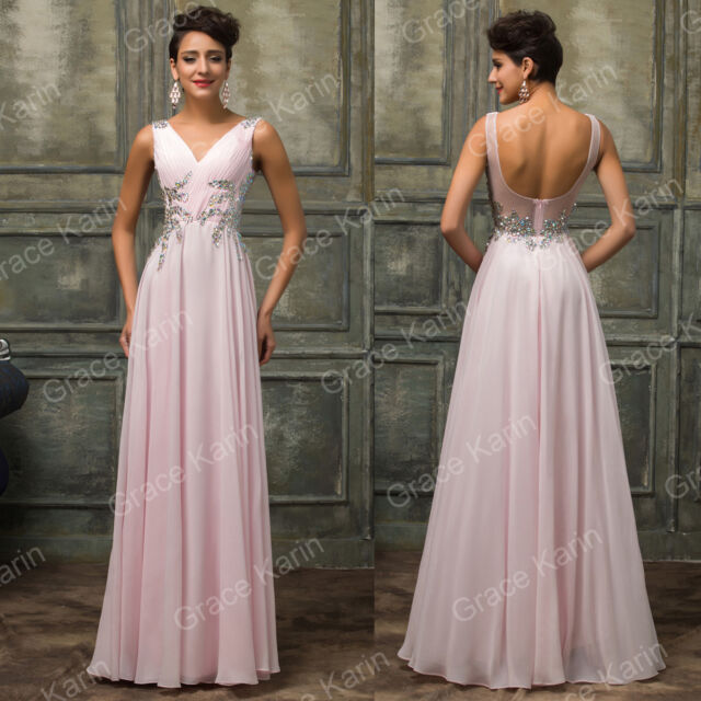 PLUS SIZE BEADED Long Wedding Party Bridesmaid Gown Evening Prom Formal Dresses