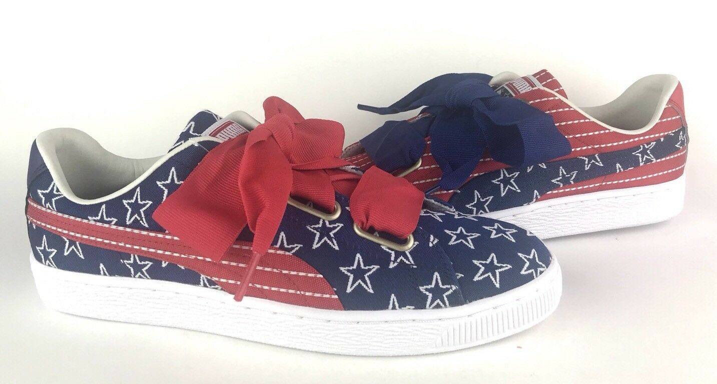 PUMA Women's Basket Heart 4th Of July Stars Stripes Red White Blue Comfortable Casual wild