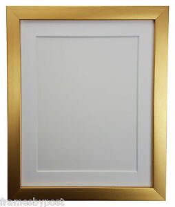 0.75 Inch Gold Photo Picture Frames With White Black Ivory Pink or Blue Mounts