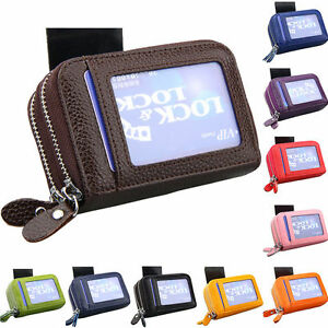 New-Solid-Genuine-Leather-Accordion-Wallet-Zip-Around-ID-Credit-Card-Case-Holder