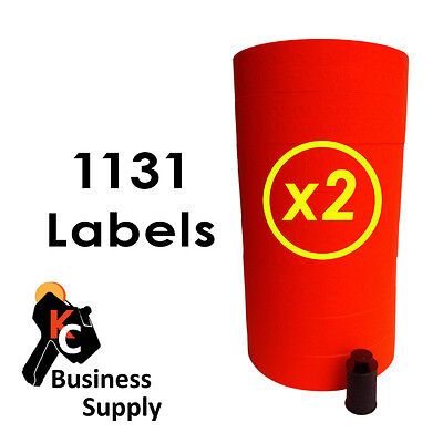 2 Sleeves 1131 RED and WHITE for Monarch price gun 1 each color-2 ink rollers