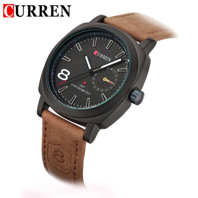 2016 New Fashion Curren Branded Wristwatch Leather Strap Military wrist Watch.