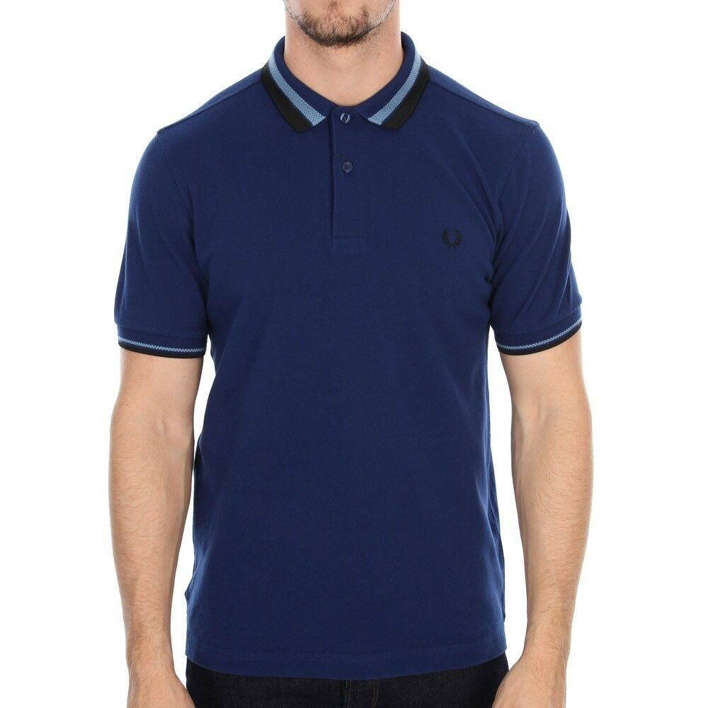 Frot Perry Texturot Texturot Texturot Bold Tipped Polo Shirt Men's Short Sleeved Top M7386-126 bca5e4