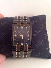Bulova Diamond Mens Black Ion & Gold Tone Bracelet Dress Watch 98D004-HO