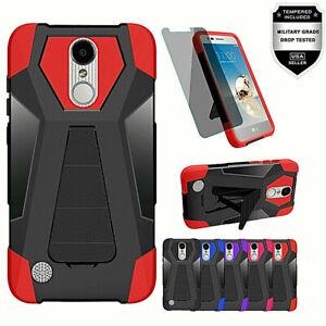 For-LG-Aristo-3-Plus-3-2-Phoenix-Rebel-Hybrid-Kickstand-Case-Tempered-Glass