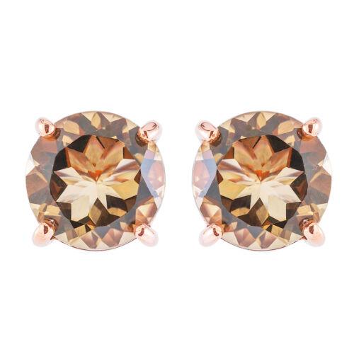 100/% naturel 10 mm Quartz Fumé Pierre Goujon design or Rose /& Argent 925 Boucle d/'oreille
