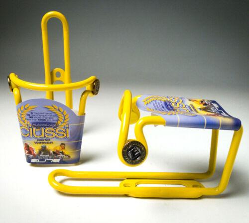 2x Vintage NOS Elite Ciussi alu bottle cage Cipollini Pantani Ullrich Yellow NEW