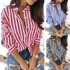 ZANZEA Women Long Sleeve Button Down Stripe Shirt Casual Loose Tunic Tops Blouse