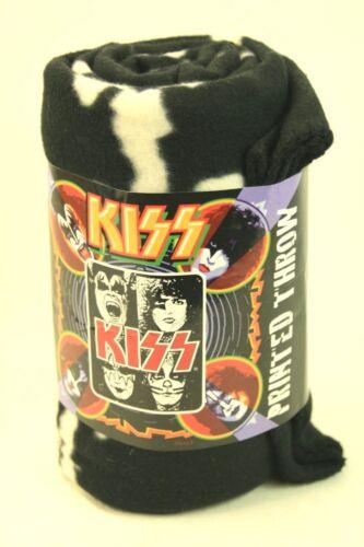 "KISS Polyester Fleece Throw 2009 Kiss Night 50"" x 60"" Kiss Faces"
