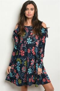 New-USA-Watermelon-Boho-Navy-Floral-Cold-Shoulder-Western-Long-Sleeve-Dress-S-L