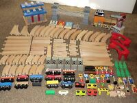 HUGE Lot Wooden Track 56 Pcs Brio Thomas Etc. Wood Train + 11 CARS ~ BRIDGES