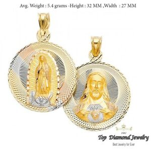 14k Tri Color Gold DC Guadlupe Stamp Religious Pendant Charm