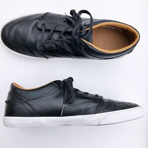 Lacoste-Mens-Sneaker-US-10-5-Bayliss-Vulc-Premium-Black-Leather-Fashion-Casual