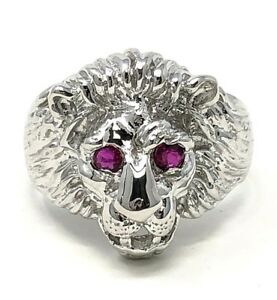 81ad7aa584c77 Details about Men's 14k White Gold Lion Head w/ Ruby Eyes Ring Sizes 7-13