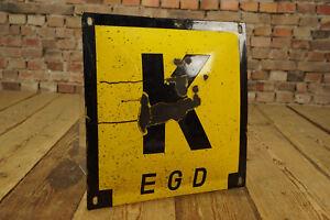 Reklame-Emailschild-K-EGD-Kabel-Emailleschild-gebaucht-Werbung-Antik-Deko-Schild