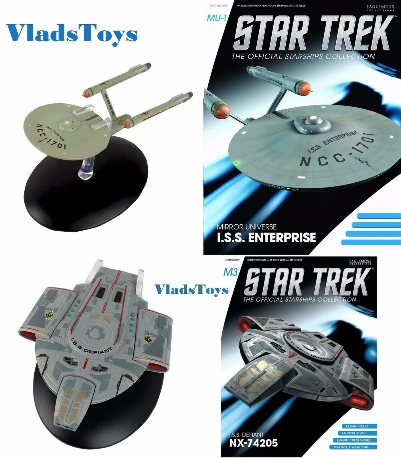 Eaglemoss Star Trek Mirror Universe ISS Enterprise & ISS Defiant M1 & M3 w Mag
