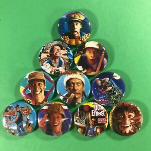 Ernest-1-034-Button-Pin-Set-Jim-Varney-Hey-Vern-Comedy-Scared-Stupid-Christmas