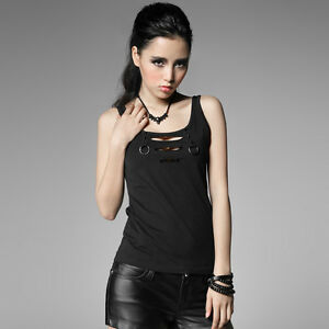 T317-Punk-Rave-Lolita-VISUAL-KEI-GOTHIC-PUNK-Rock-Broken-hole-Vest-Top-Tshirts