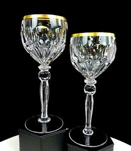 HOFBAUER-GERMAN-CUT-CRYSTAL-CLEAR-THUMBPRINT-GOLD-TRIM-2-PC-7-3-4-034-WINE-HOCKS