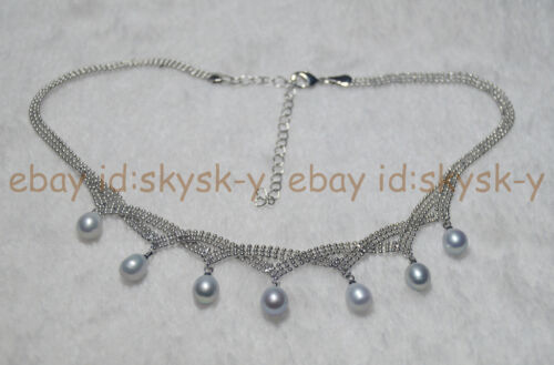 """7-8 mm NATURAL Argent Akoya Cultured Pearl Colliers 18/"""" AAA Charmant"""