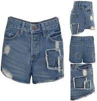 Womens Summer Shorts Festival Distressed Denim Hotpants UK 6 To 14