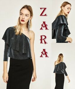 56bb64ab330 ZARA One Shoulder Asymmetric Top 3/4 Sleeve Frill New (RT$39.90) Top ...