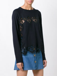 Size Paneled New Lace Sweater Silk Navy Chloe In And Cotton Blend PkuZXi