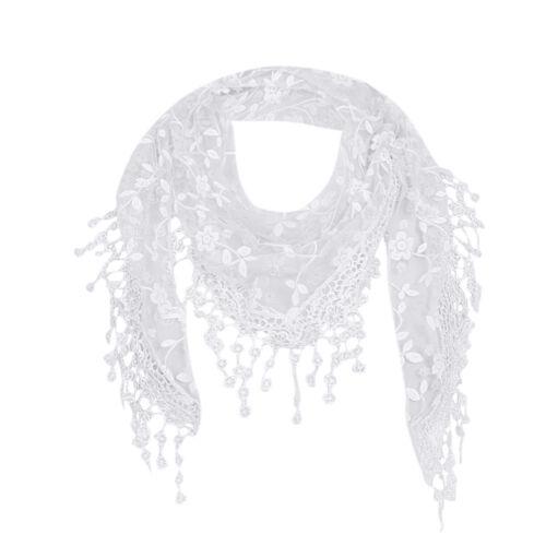 NEWEST Women Ladies Lace Sheer Floral Scarf Shawl Tassel Scarf Warp Stole 2018
