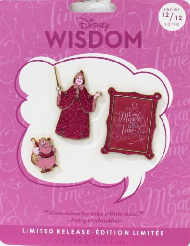 Disney Wisdom 3 Pin Set Cinderella Fairy Godmother 12//12 Limited Release