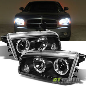 2006 2010 dodge charger led halo projector headlights
