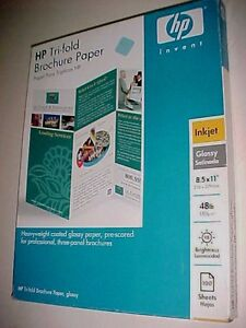 Details about HP Tri-Fold Brochure Glossy Flyer Paper 48lb Inkjet 100  Sheets C70220A New