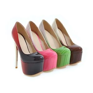 f85193d97d48 Image is loading Ladies-Clubwear-Shoes-Synthetic-Leather-Platform-High-Heels -