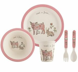 Image is loading Visit-a-Farm-PINK-PIG-5pc-DINNER-SET-  sc 1 st  eBay & Visit a Farm PINK PIG 5pc DINNER SET Bamboo Fiber Cutlery Plates Cup ...