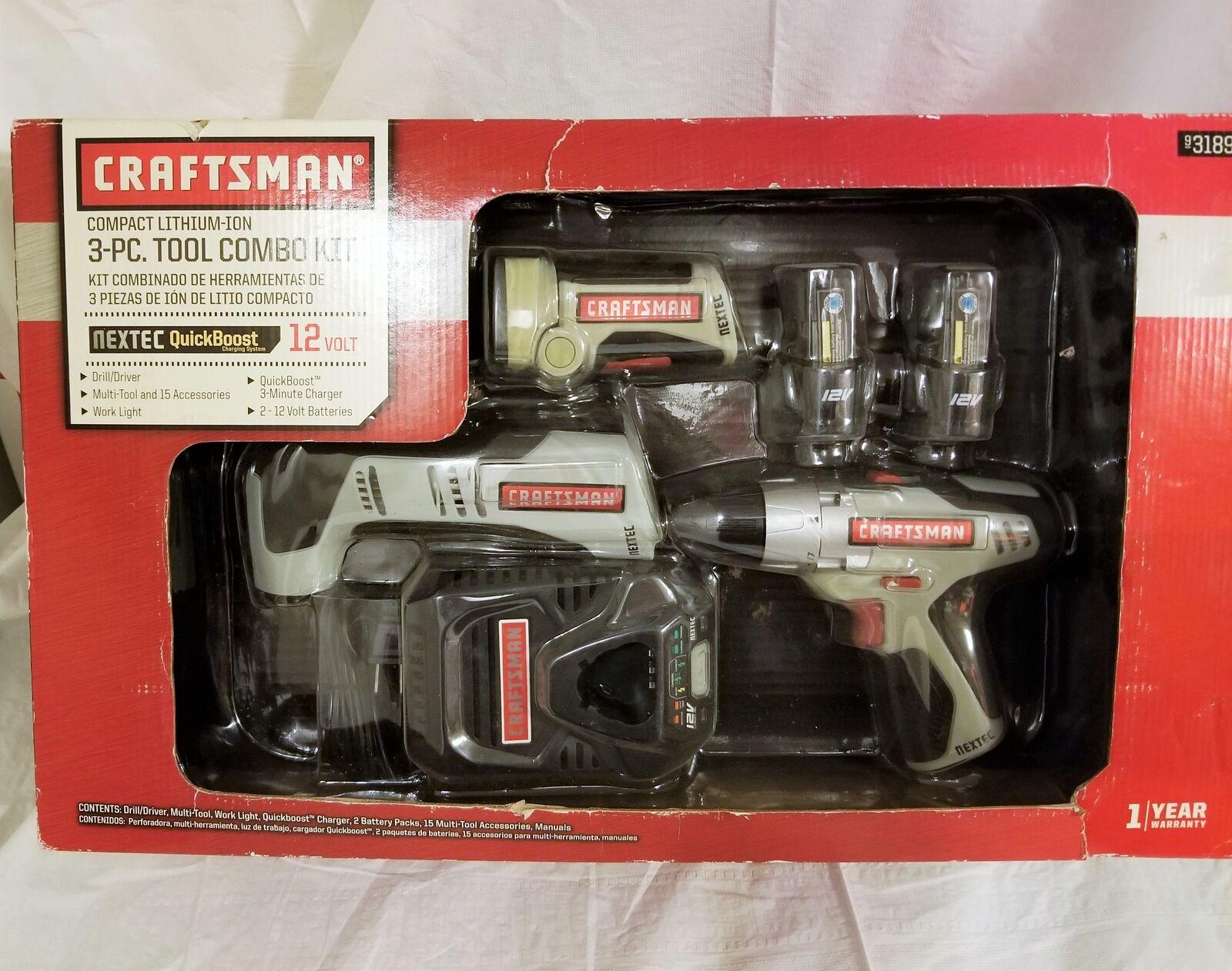 NEW Craftsman Compact 3 Piece Tool Combo Kit  Drill + Multi-Tool + Work Light