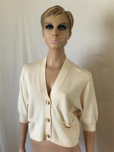 St. John Ivory Cream Off White Short Dolman Sleeve Cardigan Sweater - Size L