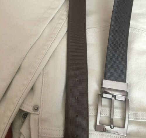 """Mens Real Leather REVERSIBLE and ADJUSTABLE BELT 1.25/"""" Carbon Fibre Saffiano New"""