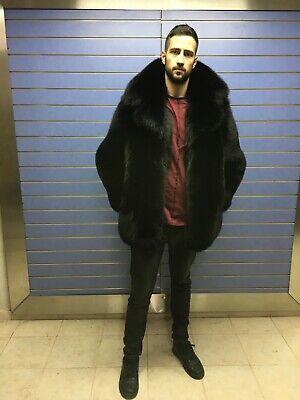d029026a1 Details about Luxury Full Skin Black Fox Fur Mens Coat Real Fur Jacket Big  Collar Black Fox