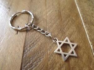Image is loading WONDERFUL-SILVER-PLATED-JEWISH-STAR-OF-DAVID-KEYRING-