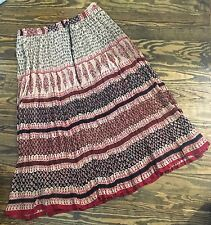 Indian Gauze Red & Black Block Print Boho Hippie Festival Maxi Skirt, One Size